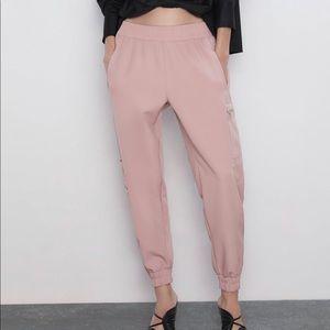 Pink Zara Cargo pants with Zippers